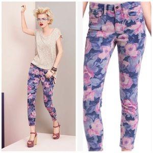 Joe's Jeans purple pink floral rose skinny jeans